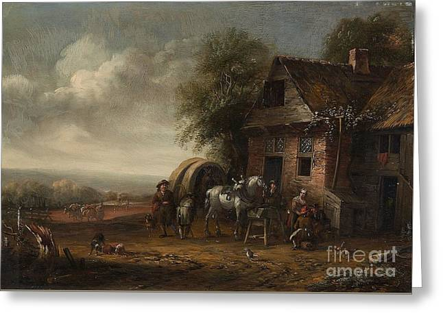 Landscape With A Farmhouse And Resting Travellers Greeting Card
