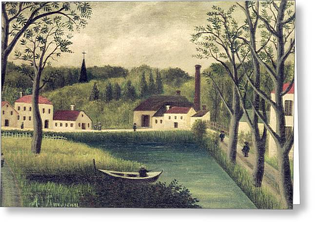 Landscape With A Fisherman Greeting Card by Henri Rousseau