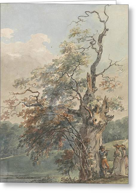 Landscape With A Man Playing A Pipe Under An Old Tree Greeting Card by Paul Sandby