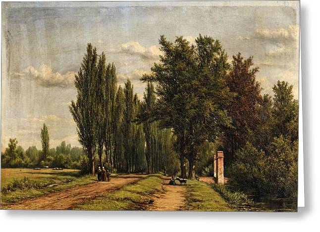 Landscape With A Poplar Lined Avenue Greeting Card