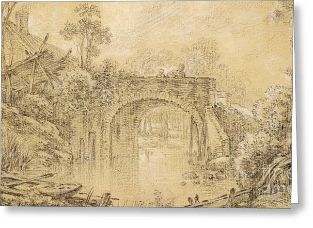 Landscape With A Rustic Bridge Greeting Card by Francois Boucher