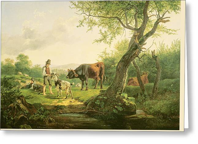 Landscape With A Shepherd Greeting Card by Friedrich Gauermann