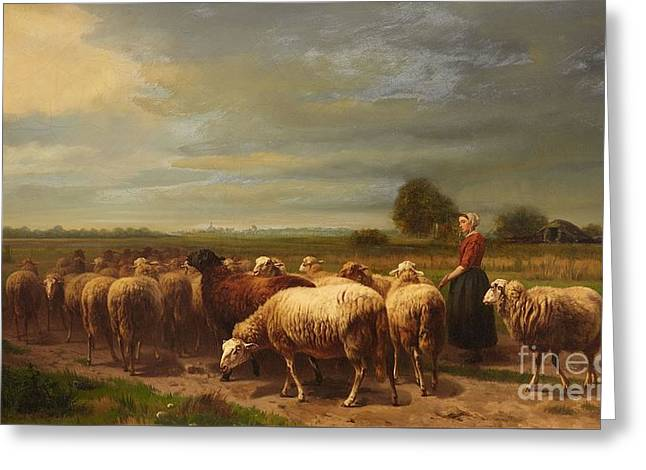 Landscape With A Shepherdess And A Flock Of Sheep Greeting Card