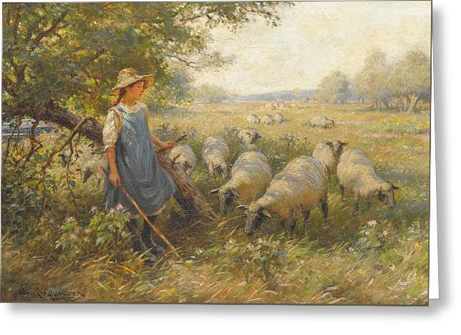 Landscape With A Shepherdess Greeting Card by MotionAge Designs