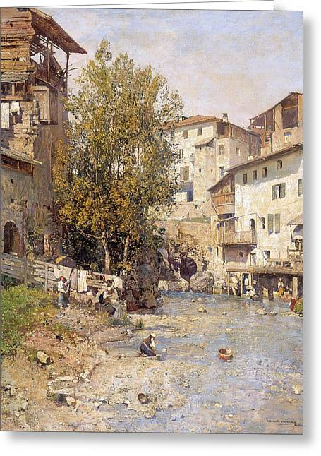 Landscape With A Village On The Outskirts Of Rome Greeting Card