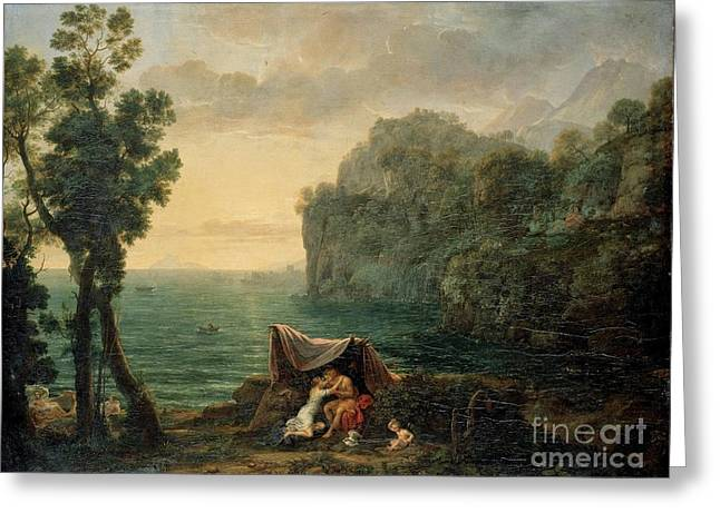 Landscape With Acis And Galatea Greeting Card by MotionAge Designs