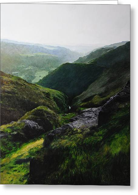 Landscape With Aspect Towards The North Wales Coast. Greeting Card by Harry Robertson