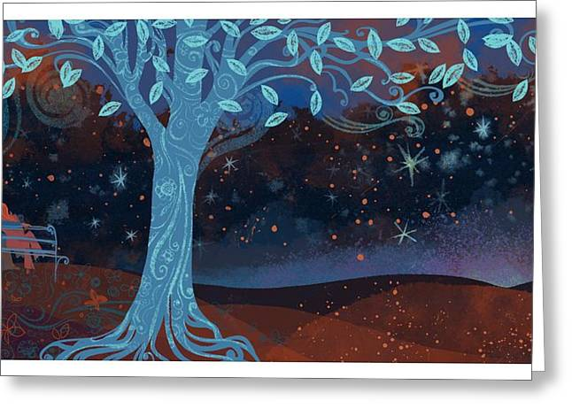 Landscape With Couple Snuggling And Tree Greeting Card by Gillham Studios