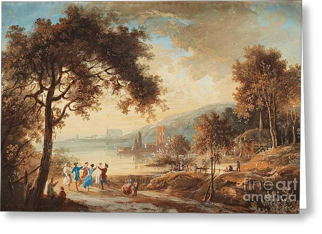 Landscape With Dancing Figures Greeting Card by Celestial Images