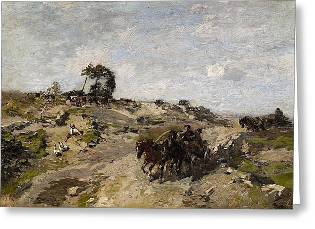 Landscape With Dunes And A Horse Drawn Cart Greeting Card