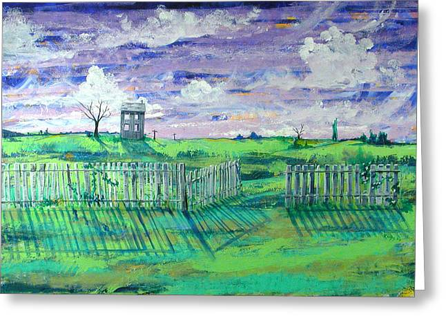 Landscape With Fence Greeting Card by Rollin Kocsis