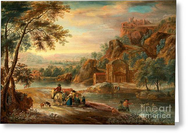 Landscape With Figures And Buildings Greeting Card by Celestial Images