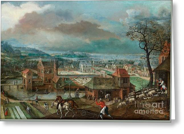 Landscape With Figures Greeting Card by MotionAge Designs