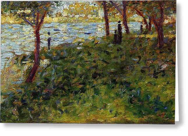 Landscape With Figures, Study For A Sunday On La Grande Jatte Greeting Card