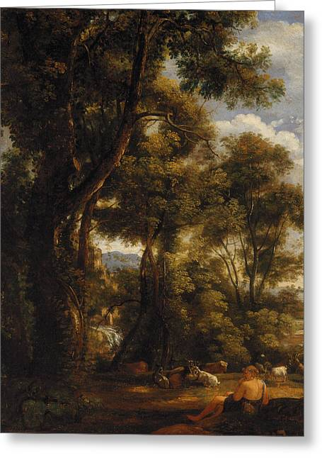 Landscape With Goatherd And Goats Greeting Card by John Constable