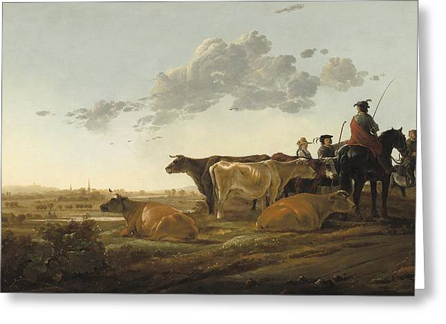 Landscape With Herdsmen Greeting Card by Aelbert Cuyp