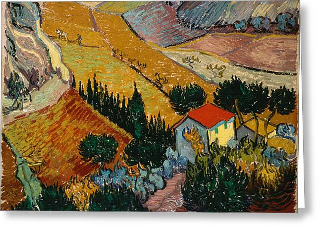 Greeting Card featuring the painting Landscape With House And Ploughman by Van Gogh