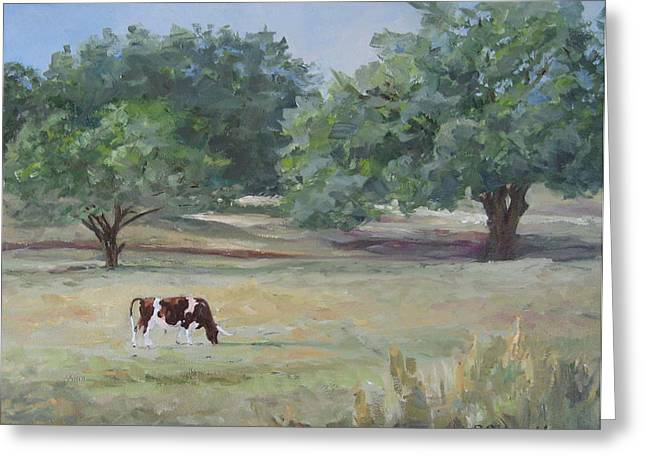 Landscape With Longhorn Greeting Card