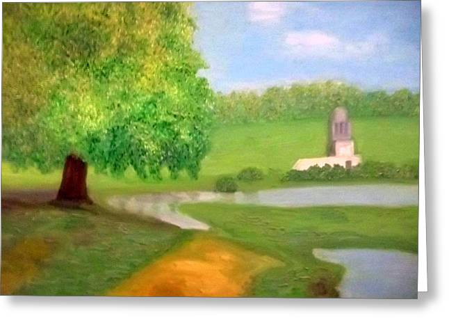 Landscape With Luxuriant Tree And Folly Greeting Card