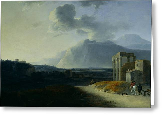 Italian Islands Greeting Cards - Landscape with Mount Stromboli Greeting Card by Willem Schellinks