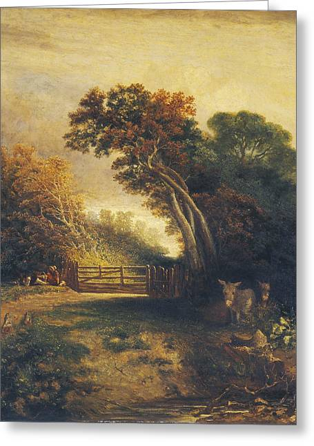 Landscape With Picnickers And Donkeys By A Gate Greeting Card