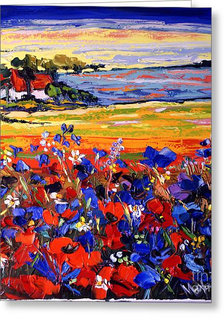 Landscape With Poppies Greeting Card by Maya Green