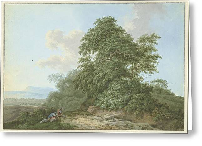 Landscape With Resting Travelers Along A Road Greeting Card