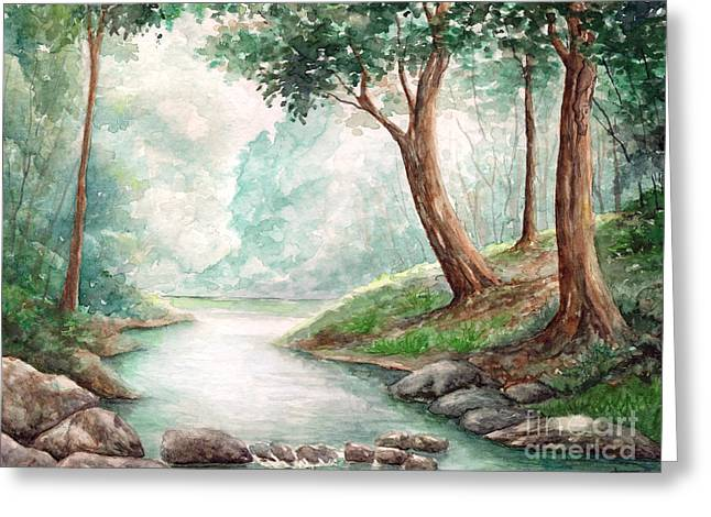 Landscape With River Greeting Card by Enaile D Siffert