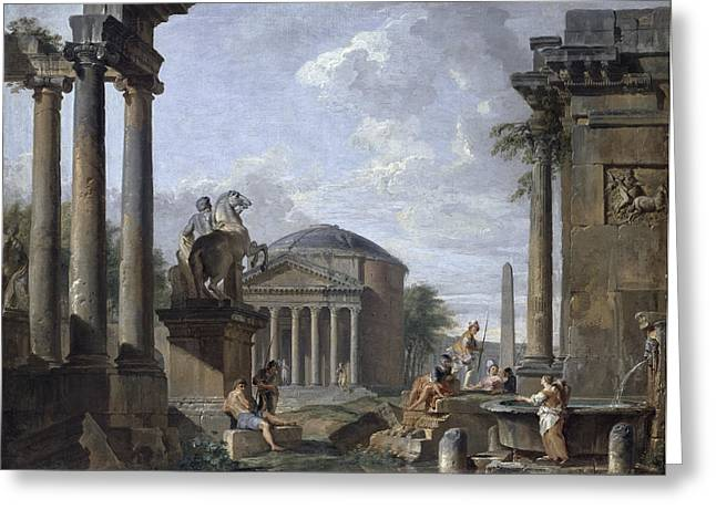 Landscape With Roman Ruins Greeting Card by Giovanni Paolo Panini