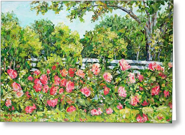 Landscape With Roses Fence Greeting Card
