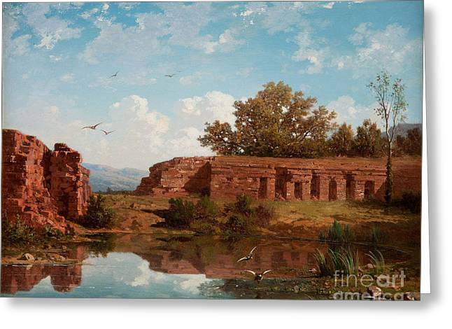 Landscape With Ruins And Lake In Afternoon Sun Greeting Card