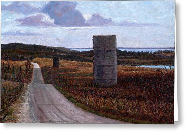 Landscape With Silos Greeting Card