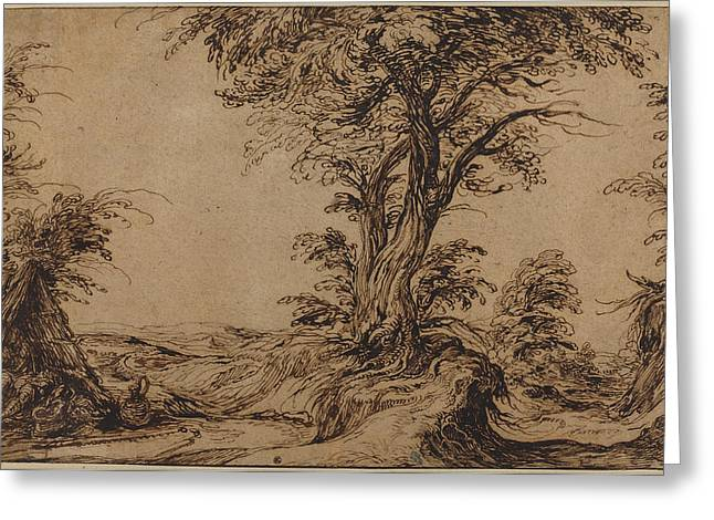 Landscape With Sleeping Peasants Greeting Card by Jacques De Gheyn Ii