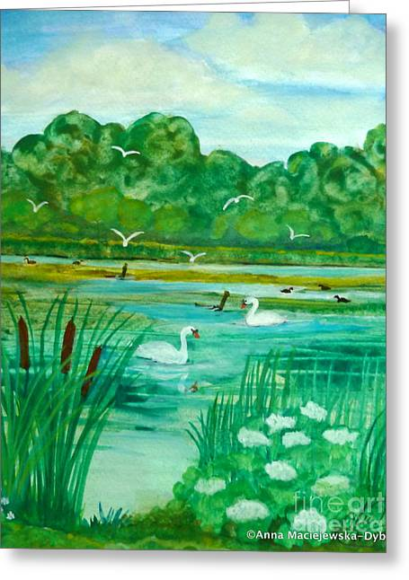 Landscape With Swans Greeting Card by Anna Folkartanna Maciejewska-Dyba
