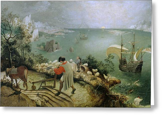 Landscape With The Fall Of Icarus Greeting Card