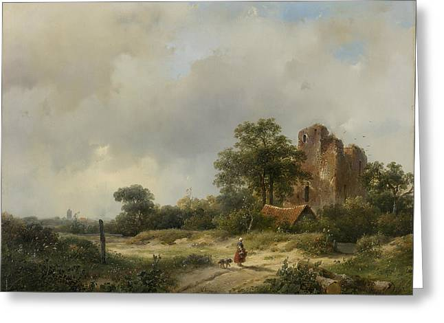 Landscape With The Ruins Of Castle Brederode In Santpoort Greeting Card