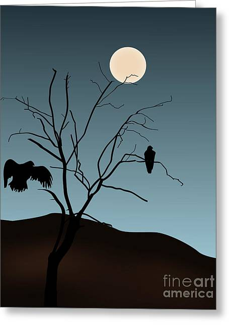 Landscape With Tree Vultures And Moon Greeting Card