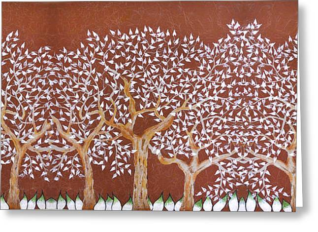 Landscape With Trees Of White Leaf Greeting Card