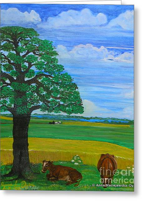Landscape With Two Cows Greeting Card