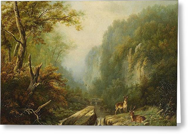 Landscape With Two Deer Greeting Card