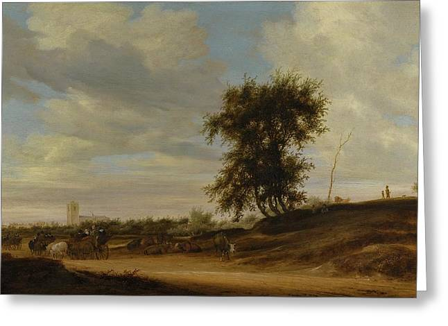 Landscape With Wagons Greeting Card