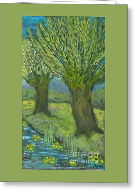Landscape With Willows And Cowslips In Bloom Greeting Card