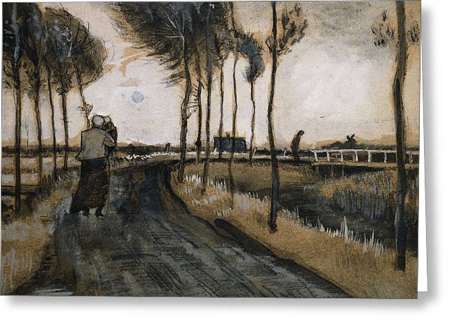 Famous Bridge Greeting Cards - Landscape with Woman and Child Greeting Card by Vincent Van Gogh