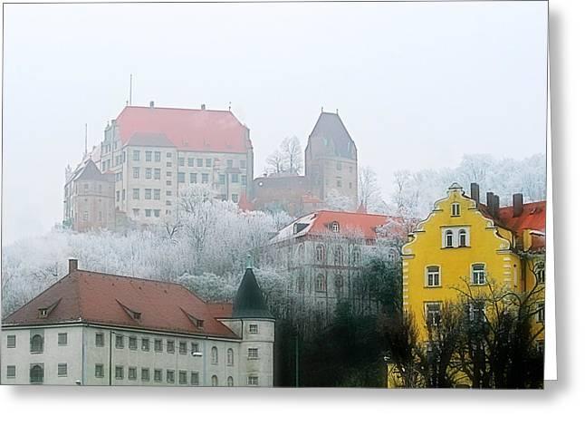 Gloomy Winter Greeting Cards - Landshut Bavaria on a Foggy Day Greeting Card by Christine Till
