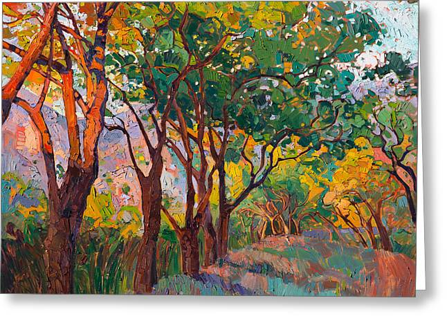 Greeting Card featuring the painting Lane Of Oaks by Erin Hanson