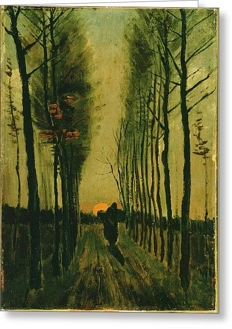 Greeting Card featuring the painting Lane Of Poplars At Sunset by Van Gogh