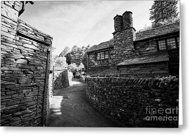 Lane Through Traditional Lake Stone Slate Built Cottages In The Hamlet Of Town End Near Grasmere Lak Greeting Card