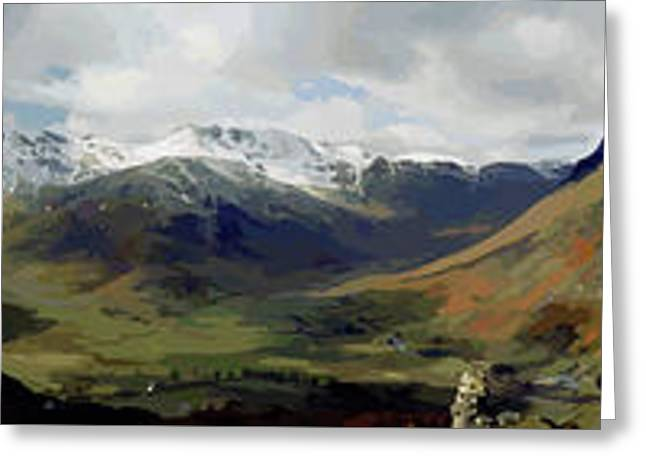 Langdale Valley Panorama From Side Pike Greeting Card