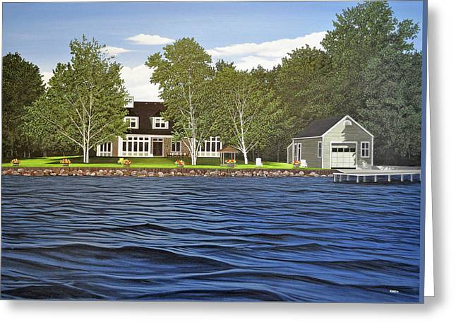 Greeting Card featuring the painting Langer Summer Home Lake Simcoe by Kenneth M Kirsch