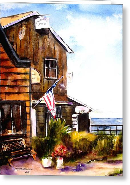 Greeting Card featuring the painting Langley Washington by Marti Green
